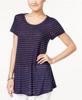 Maison Jules Metallic-Striped Swing T-Shirt, Only at Macy's