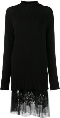 Ermanno Scervino Tulle Hem Knitted Dress