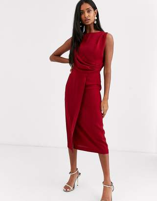 Asos Design DESIGN sleeveless wrap midi dress-Red