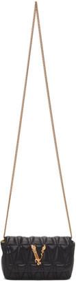 Versace Black Quilted Virtus Chain Shoulder Bag