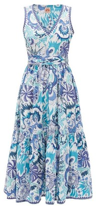 Le Sirenuse, Positano - Evelin Psycho-print Cotton Midi Dress - Blue Print