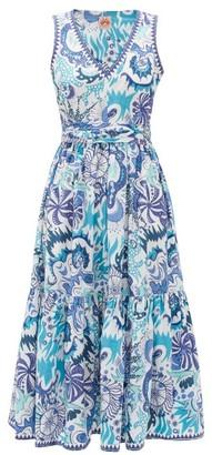 Le Sirenuse Le Sirenuse, Positano - Evelin Psycho-print Cotton Midi Dress - Womens - Blue Print