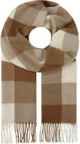 Johnstons vicuna blend check print scarf