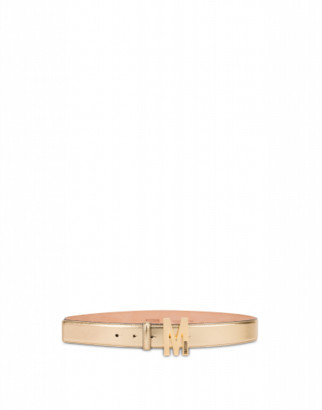 Moschino Laminated Belt With M Buckle Woman Gold Size 38 It - (4 Us)
