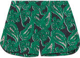 Stella McCartney Poppy Snoozing Printed Stretch-silk Crepe De Chine Pajama Shorts - Forest green
