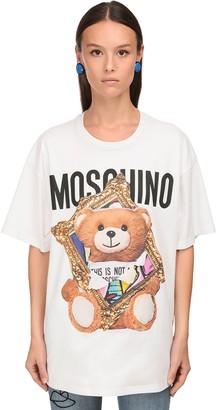 Moschino Oversize 3d Print Cotton Jersey T-Shirt
