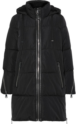 DKNY Faux Shearling-trimmed Quilted Shell Hooded Coat