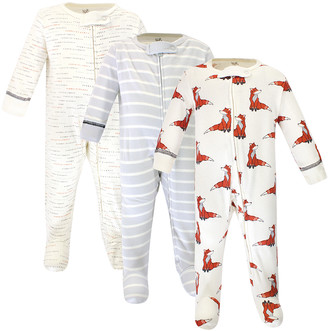 Touched by Nature Boys' Rompers Boho - White & Orange Boho Fox Organic Cotton Long-Sleeve Footie Set - Infant