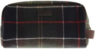 Barbour Tartan Wool Wash Bag Brown