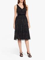 Adrianna Papell Glitter Velvet Midi Dress, Black/Gold