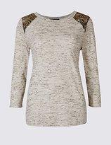 M&S Collection Cotton Rich Textured Lace Shoulder T-Shirt