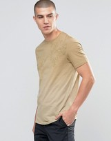 Celio Crew Neck Tshirt With Palm Tree Print And Dip Fade Detail