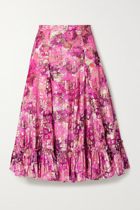 LoveShackFancy Lil Ruffled Printed Fil Coupe Voile Midi Skirt - Pink