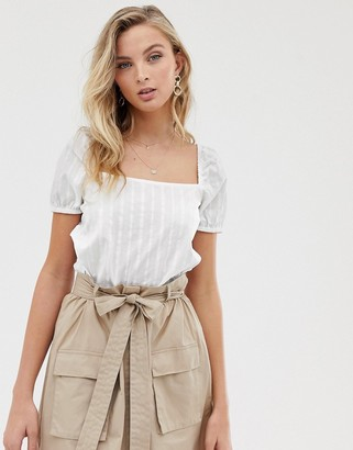 Vila square neck cotton short sleeve top-White