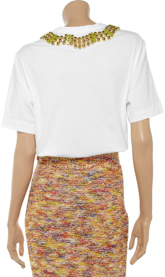 Marni Embellished cotton-jersey T-shirt