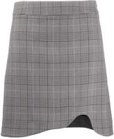 Ganni Checkered Cut-Out Hem Skirt