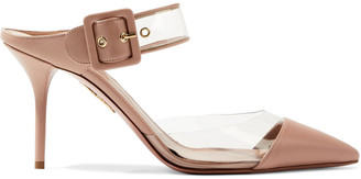 Aquazzura Optic 85 Buckled Leather And Suede Mules