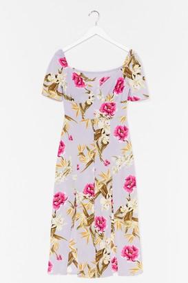 Nasty Gal Womens Feels Like Summer Floral Midi Dress - Blue