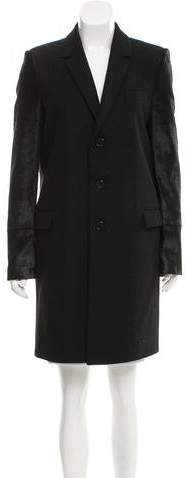 Givenchy Ponyhair-Accented Wool Coat