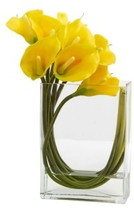 "Nearly Natural 12"" Calla Lily in Rectangular Glass Vase Artificial Arrangement"