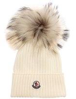 Moncler Wool Rib Knit Hat W/ Fur Pompom