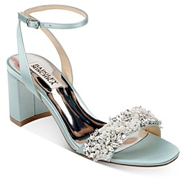 Badgley Mischka Women's Clara Embellished Block Heel Sandals