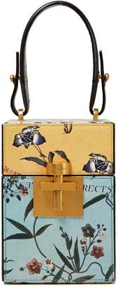Oscar de la Renta Mini Alibi Floral-print Textured-leather Tote