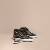 Burberry Rivet and Eyelet Leather High-top Trainers