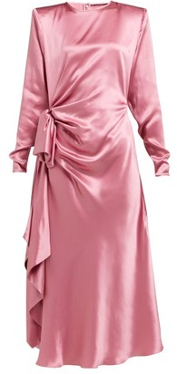 Alessandra Rich Gathered Silk-charmeuse Midi Dress - Womens - Pink