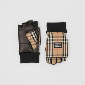 Burberry Logo Applique Lambskin and Vintage Check Mittens