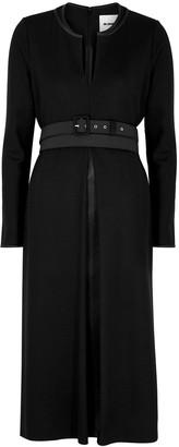 Jil Sander Black belted wool midi dress
