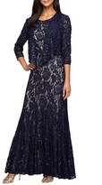 Alex Evenings Women's Lace Gown With Jacket