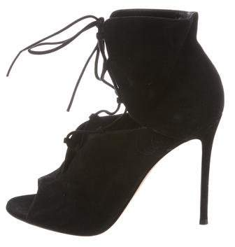 Gianvito Rossi Peep-Toe Lace-Up Boots