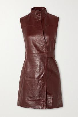 Ganni Leather Wrap Mini Dress - Brown