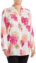 Calvin Klein Plus Floral Roll-Sleeve Shirt