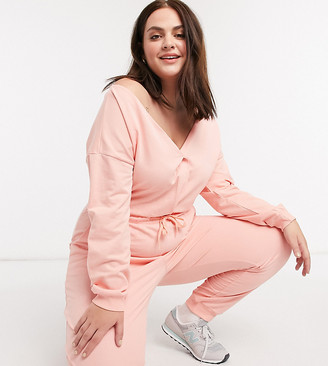 ASOS DESIGN curve lounge jersey off shoulder marl jumpsuit in blush sweat