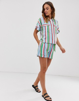 Monki co-ord tie waist multi stripe shorts