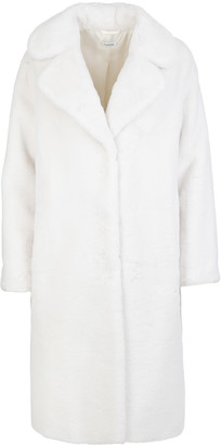 P.A.R.O.S.H. Long Coat In White Eco-fur