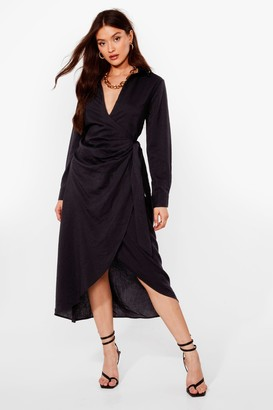 Nasty Gal Womens Ruched Wrap Midi Shirt Dress - Black