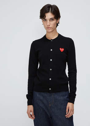 Comme des Garcons Women's Red Heart Crew Neck Cardigan Sweater in Black Size Large 100% Wool