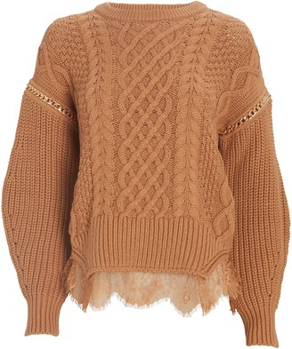 Self-Portrait Lace-Trimmed Cable Knit Sweater
