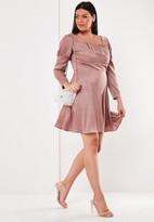 Plus Size Pink Satin Leopard Milkmaid Skater Dress
