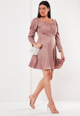 Missguided Size Pink Satin Leopard Milkmaid Skater Dress