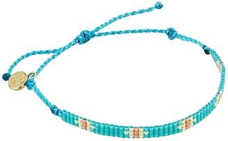 Pura Vida Flat Bead Bracelet (Woven Beads/Turquoise) Charms Bracelet