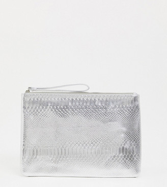 South Beach Exclusive snake embossed clutch in silver metallic