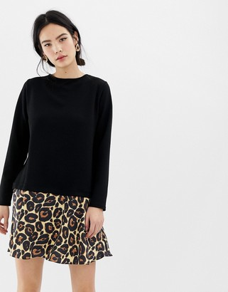 Asos DESIGN 2 in 1 sweat dress with leopard hem and tie back