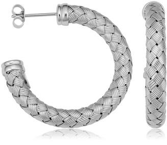 Fremada Rhodium Plated Sterling Silver Bold Weave Design Open Hoop Earrings