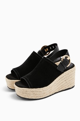 Topshop WILD Black Leather Wedge Shoes