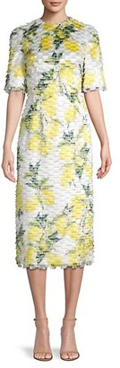 Dolce & Gabbana Organza Fringed Print Midi Dress
