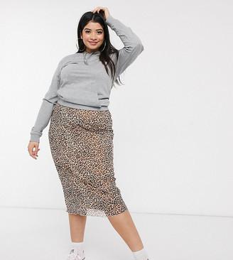 Daisy Street Plus midi skirt in leopard mesh
